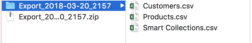Shopify exported to CSV files