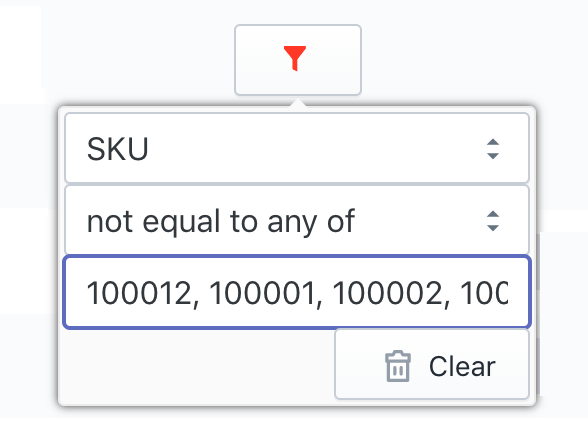 Shopify filter SKU not equal to any of