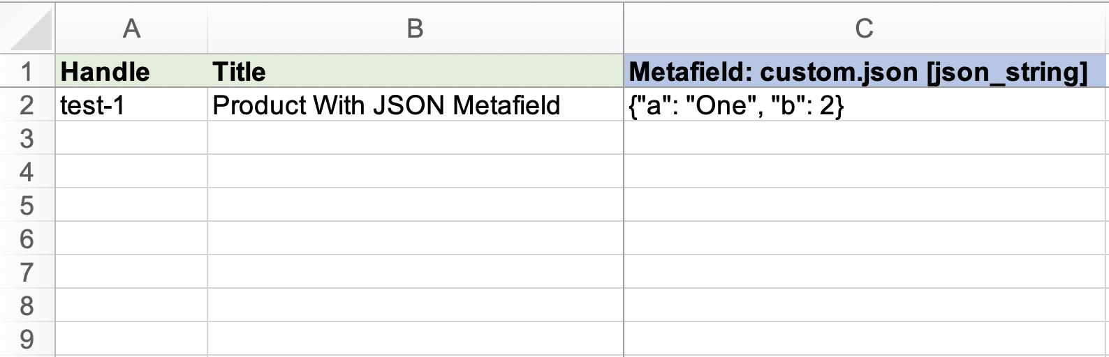 Shopify import Metafields as json_string