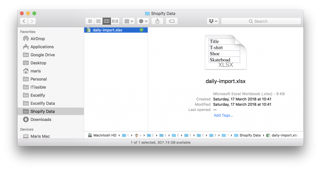 Shopify import file saved to Dropbox