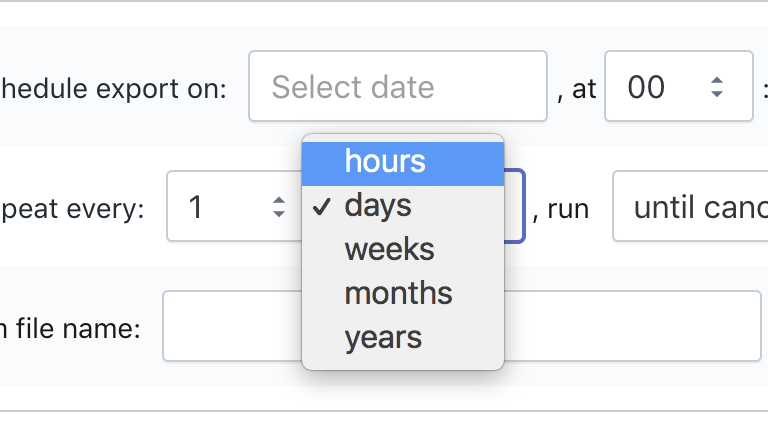 Shopify repeat import and export every hour