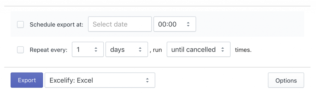 Shopify schedule and repeat export