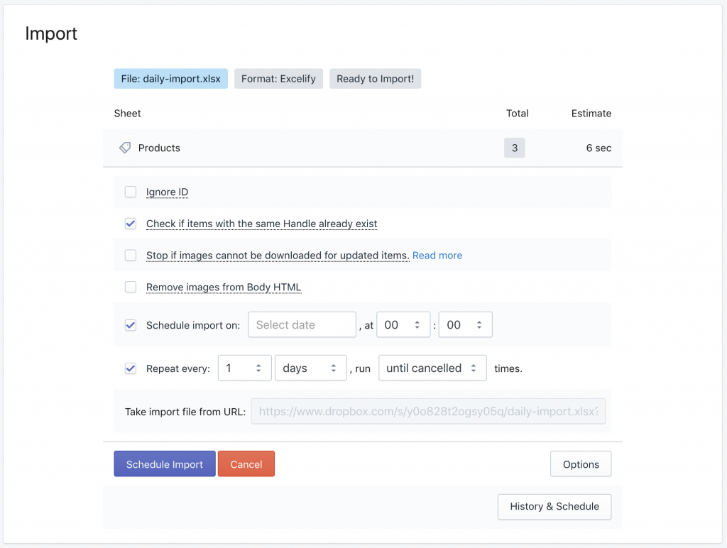 Shopify schedule import from Dropbox - setup the daily repeated import