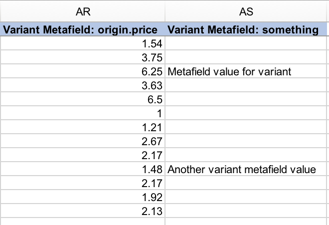 Shopify variant metafields