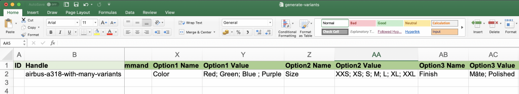 Shopify variant options to bulk generate variants from