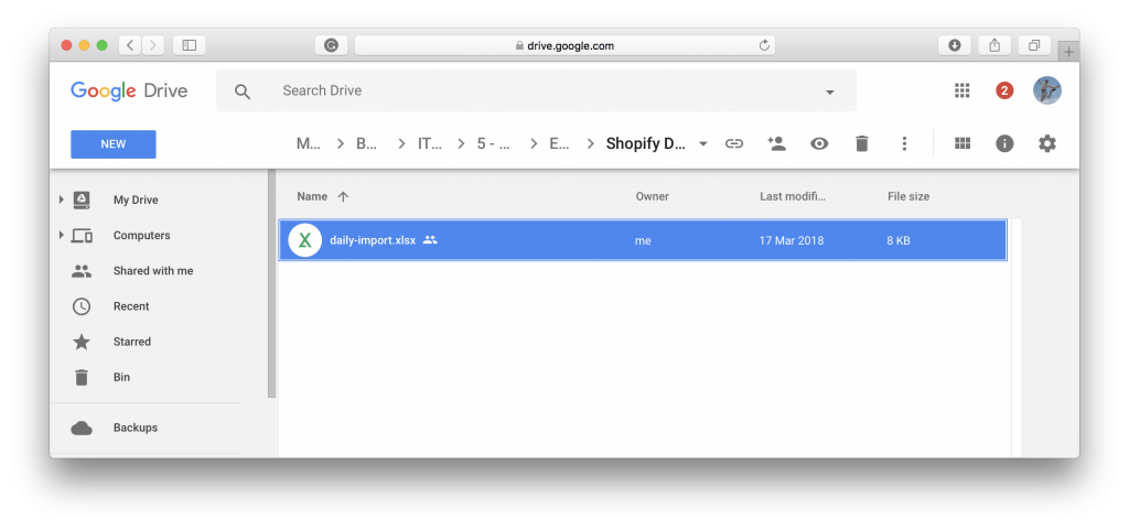 Sync Shopify from Google Drive - make sure Excel file gets synced