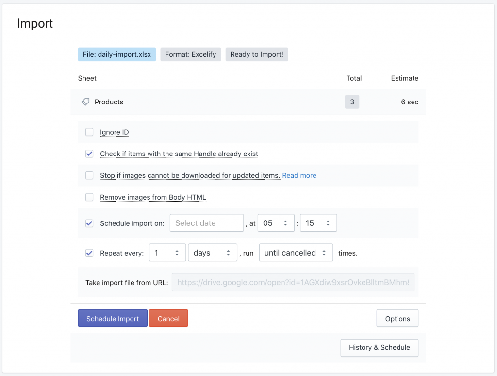 Sync Shopify from Google Drive - setup the schedule and repeating