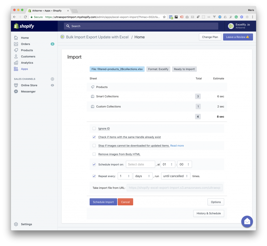 Sync Shopify - import from scheduled export file