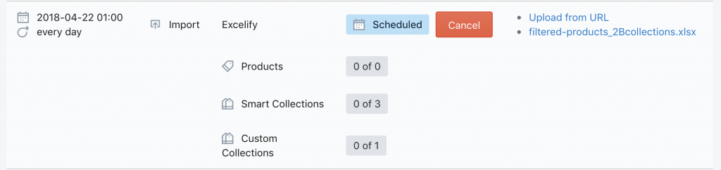 Sync Shopify - see scheduled import status
