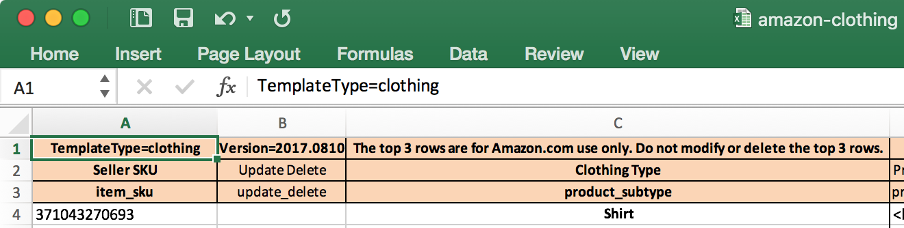 Amazon TemplateType