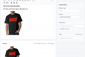 The same image appearing in Shopify images and in the Body HTML description