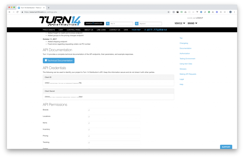Turn14 API Credentials