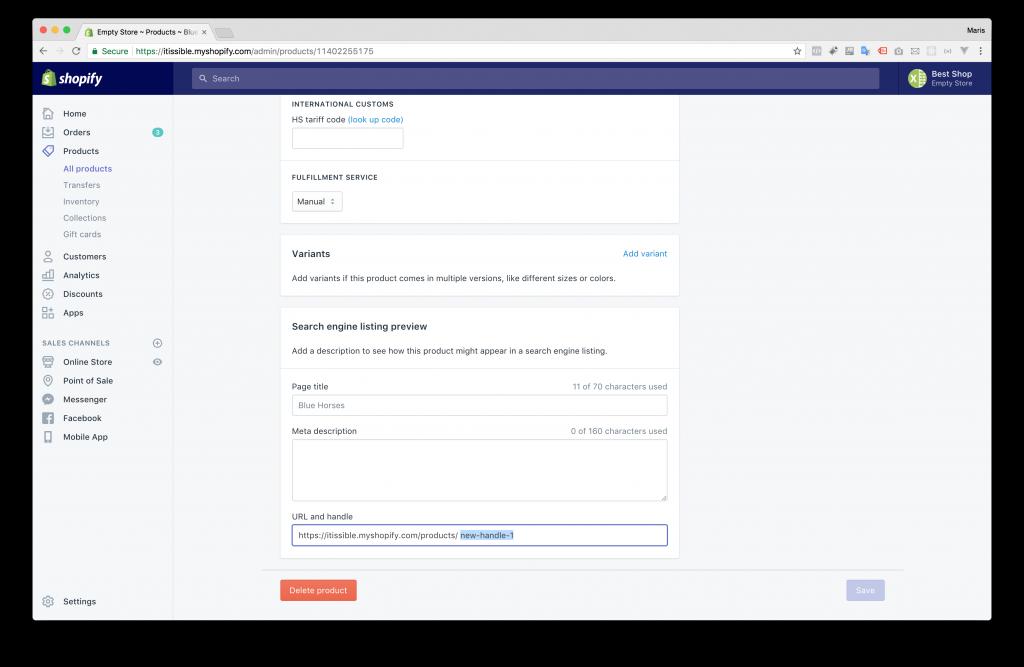 Shopify Bulk Update Product Handles