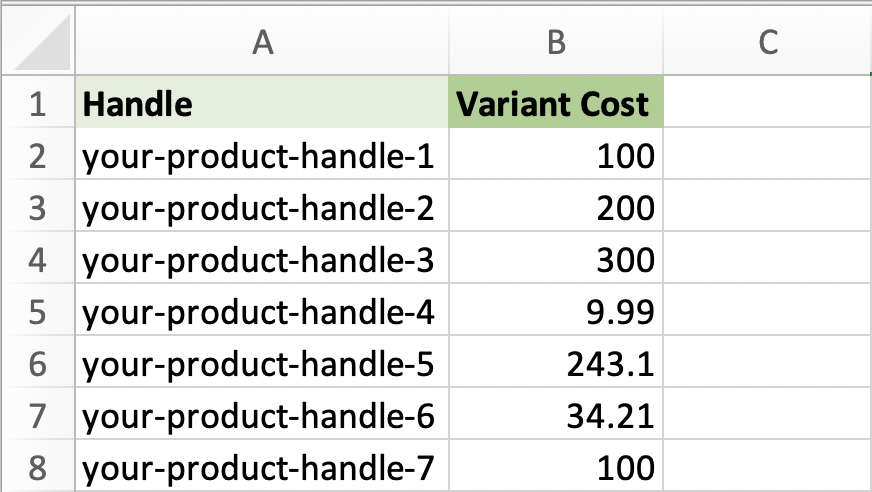 Update Shopify Variant Cost Per Item by Handle