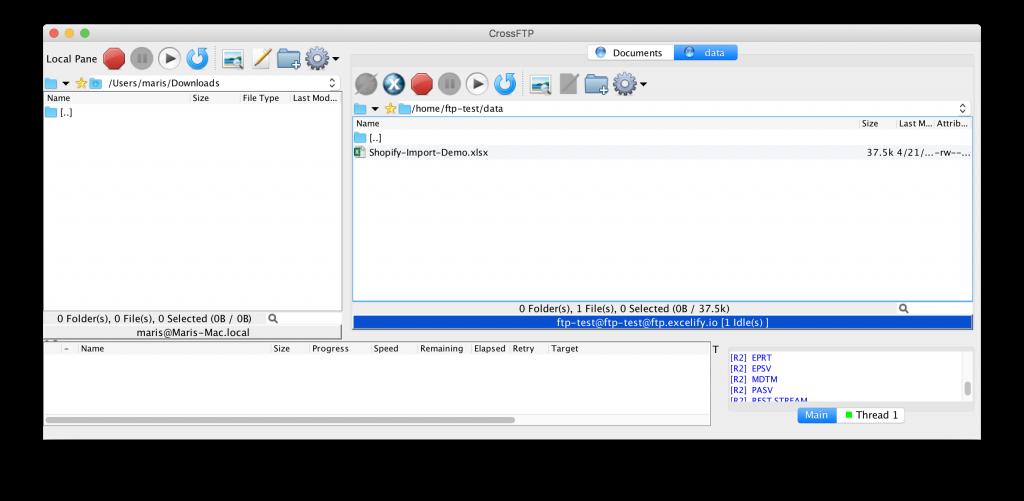 Uploaded Shopify import file to FTP server