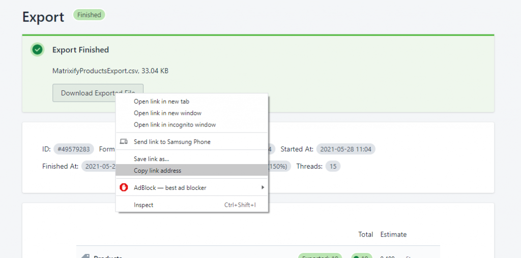 export from shopify to google sheets matrixify 3