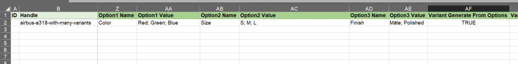 generate variants from semicolon splt options Shopify products import csv excel excelify