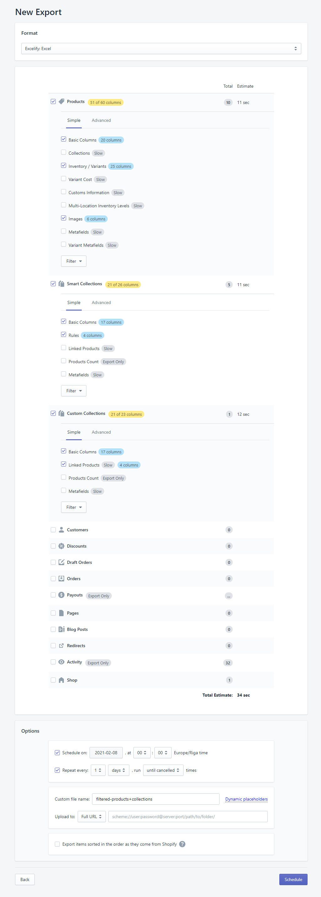 scheduled shopify export sync stores Excelify